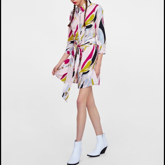 NEW | Zara 100% Cotton Printed Button Down Dress